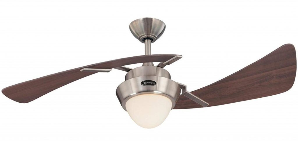 7214100 Harmony 48-Inch Brushed Nickel Indoor Ceiling Fan, Light Kit with Opal Frosted Glass