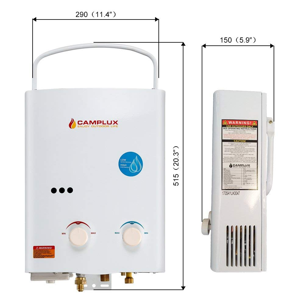 Camplux AY132 5L Propane Tankless Water Heater Dimensions