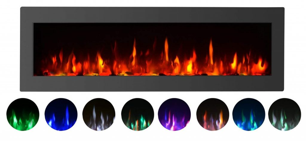"GMHome 40"" Electric Fireplace Wall Mounted Freestanding Heater Crystal Stone Flame Effect 9 Changeable Flame Color Fireplace, w/Remote, 1500/750W, Black"