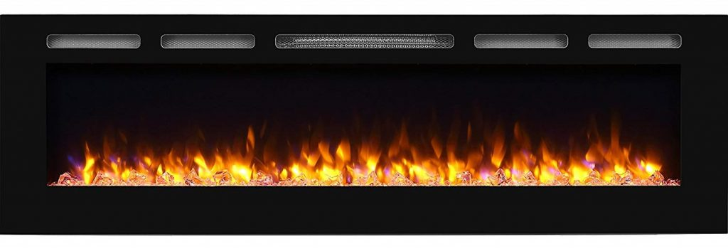 "PuraFlame Alice 68"" Recessed Electric Fireplace, Wall Mounted for 2 X 6 Stud"