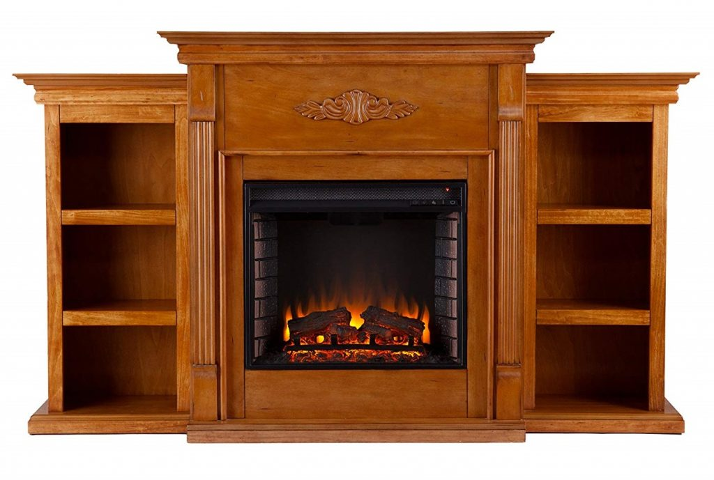 SEI Southern Enterprises Tennyson Electric Fireplace with Bookcase, Glazed Pine Finish