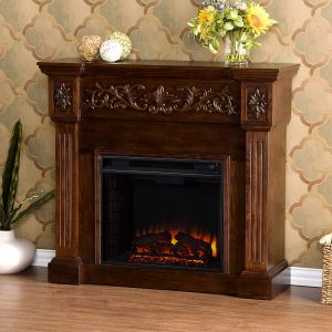 Southern Enterprises Calvert Carved Free Standing Electric Fireplace