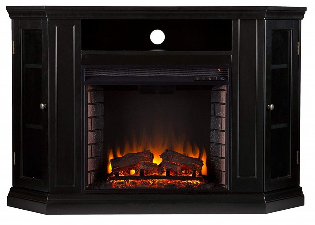 "Southern Enterprises Claremont Convertible Media Electric Fireplace 48"" Wide, Black Finish"