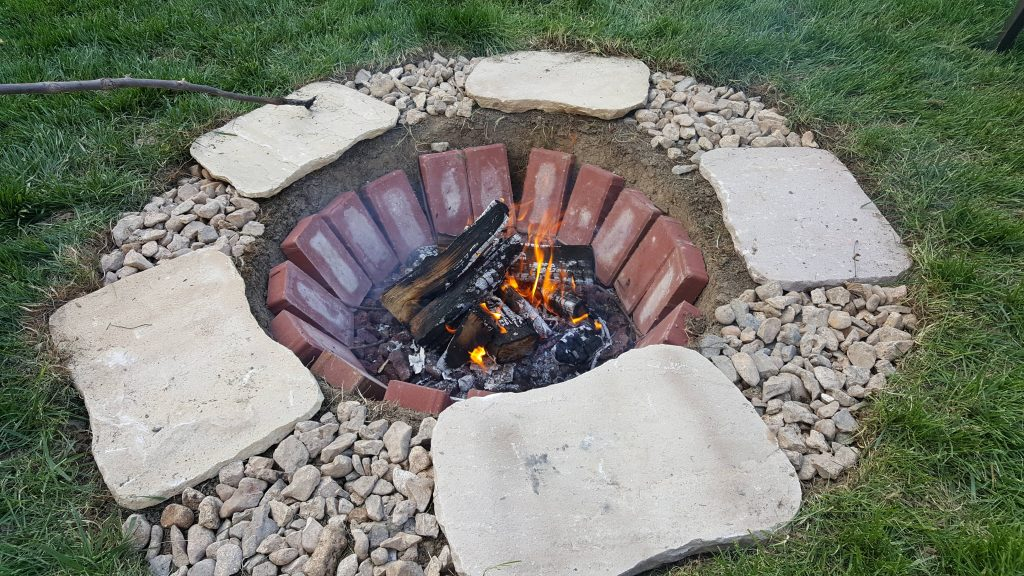 In-Ground Stone and Brick Fire Pit
