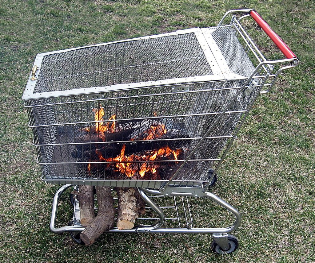 Portable Fire Pit With Built In Log Storage Rack