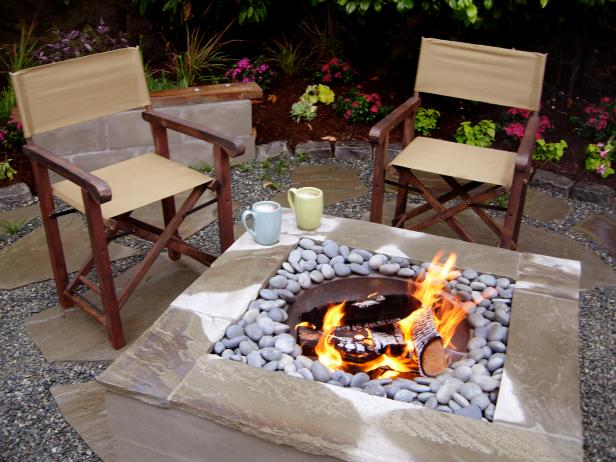 Square Fire Pit Feature