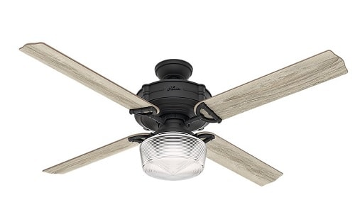 Hunter 54177 Brunswick Ceiling Fan with Globe Light with Integrated Control System, 60-inch, Natural Iron, works with Alexa