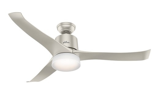 Hunter 59376 Symphony Ceiling Fan with Light with Integrated Control System, 54-inch, Matte Nickel, works with Alexa