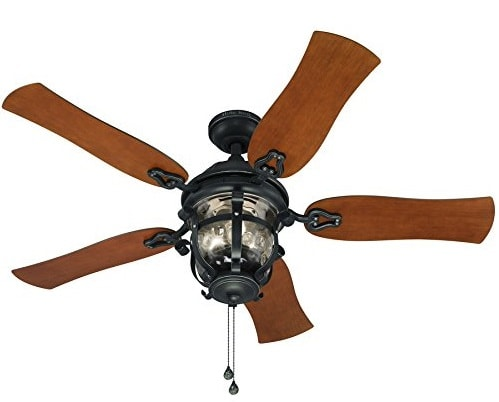 Harbor Breeze Lake Placido 52-in Aged Iron Outdoor Downrod or Flush Mount Ceiling Fan