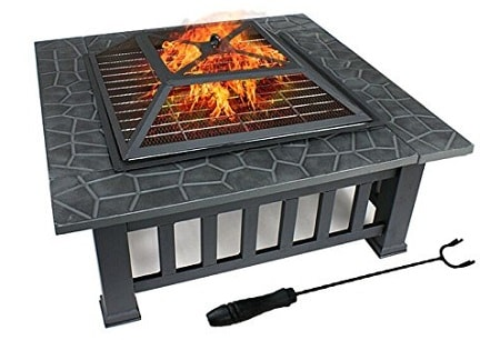 "ZENY 32"" Outdoor Fire Pit Square Metal Firepit Backyard Patio Garden Stove Wood Burning Fire Pit W/Rain Cover, Black"