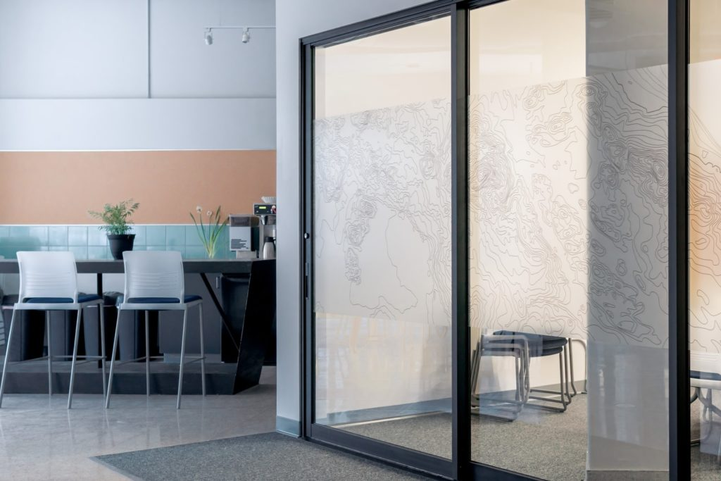 China Interior Swinging Office Semi Transparent Glass Door Frosted Line Design Glazed Milk Glass China Door Glass Tempered Glass